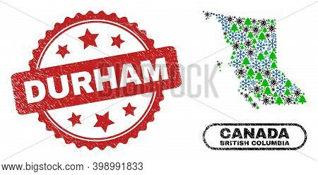 Vector Pandemic New Year Collage British Columbia Map And Durham Textured Stamp Seal. Durham Stamp S