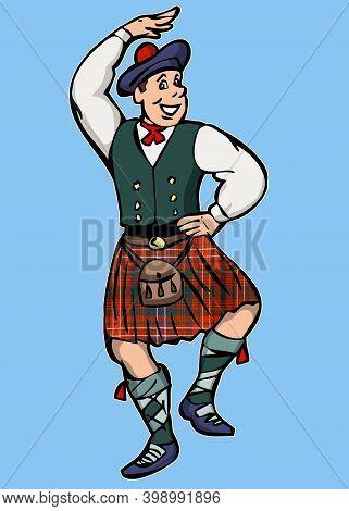 Scotsman Cartoon Character Dancing Traditional Dance Illustration