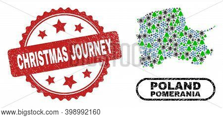 Vector Covid-2019 Christmas Composition Pomeranian Voivodeship Map And Christmas Journey Scratched S