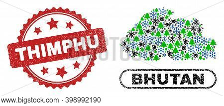 Vector Pandemic Christmas Mosaic Bhutan Map And Thimphu Grunge Seal. Thimphu Seal Uses Rosette Shape