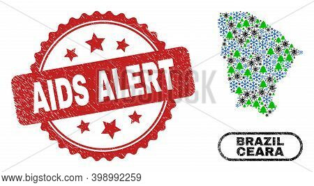 Vector Covid-2019 Winter Collage Ceara State Map And Aids Alert Dirty Stamp Imitation. Aids Alert St