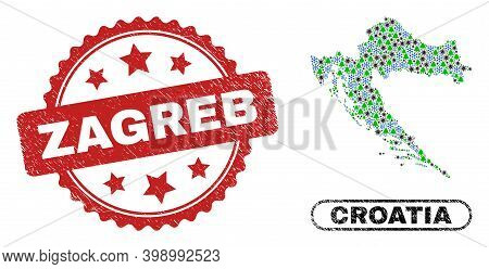 Vector Covid New Year Collage Croatia Map And Zagreb Grunge Stamp Print. Zagreb Seal Uses Rosette Sh