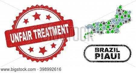 Vector Coronavirus Winter Collage Piaui State Map And Unfair Treatment Unclean Seal. Unfair Treatmen