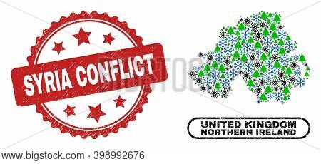 Vector Coronavirus Winter Collage Northern Ireland Map And Syria Conflict Grunge Stamp Seal. Syria C