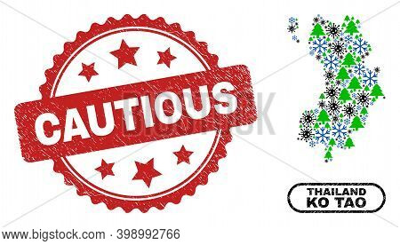 Vector Pandemic New Year Mosaic Ko Tao Map And Cautious Unclean Stamp. Cautious Stamp Seal Uses Rose