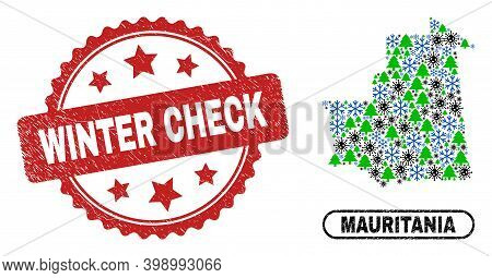 Vector Pandemic New Year Collage Mauritania Map And Winter Check Grunge Stamp Seal. Winter Check Sta