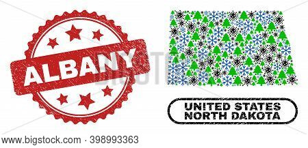 Vector Covid-2019 Winter Composition North Dakota State Map And Albany Scratched Seal. Albany Seal U