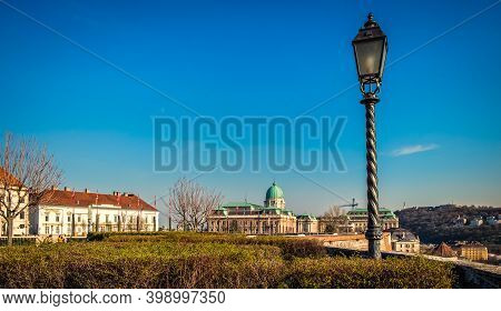 Budapest, Hungary, March 2020, View Of Part Of Tóth Árpád Promenade In The Buda Castle District