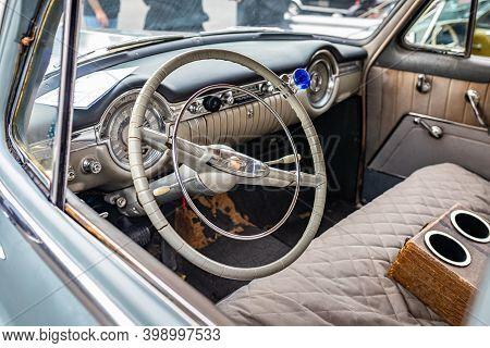 Tybee Island, Ga - October 3, 2020: The 1953 Oldsmobile Super 88 Sedan's Unique Steering Wheel At A