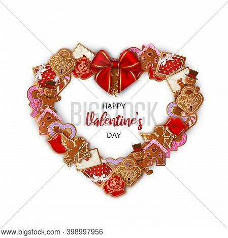 Heart Shaped Frame With Gingerbreads And Red Bow. Valentine's Day Wreath With Gingerbread Cookies