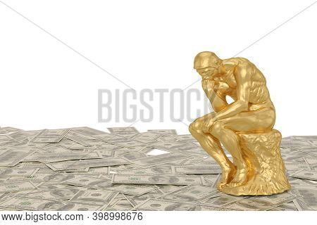 Gold Sculpture Thinker Over Money Usd. 3D Illustration