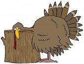 This illustration depicts a Tom turkey with its head resting on a wooden stump. poster