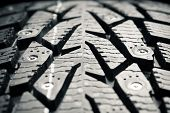 protector of winter tire, macro view poster
