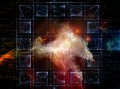 Space Topology series. Backdrop of grids nebulae and cosmology formulas on the subject of science of astronomy physics cosmology and related technologies poster