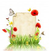 Concept of spring with blank paper for text. isolated on white background poster