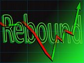 Abstract view of a stock market chart rebound poster