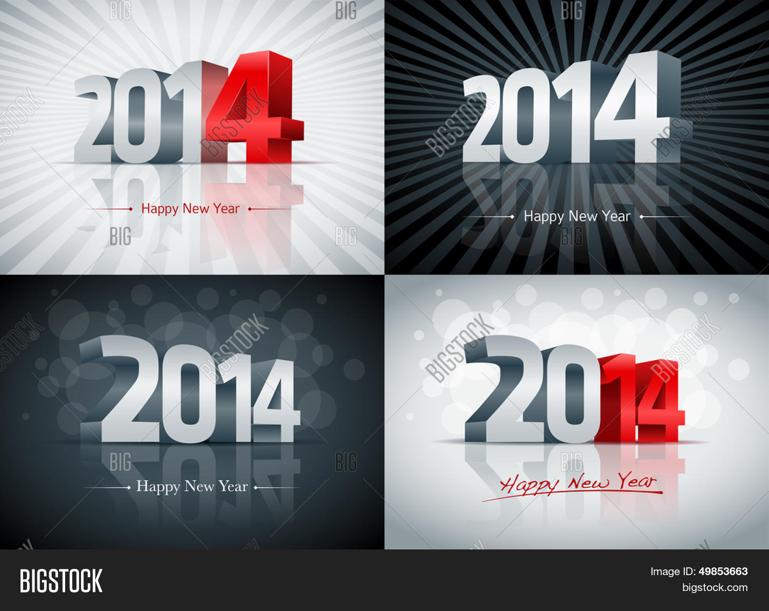 2014 happy new year card set all elements are layered separately easy editable
