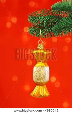 Golden Candy Cristmas Ornament On Noble Pine Tree Bough