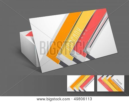 Stylish professional and designer business card set or visiting card set with colorful stripes.  poster