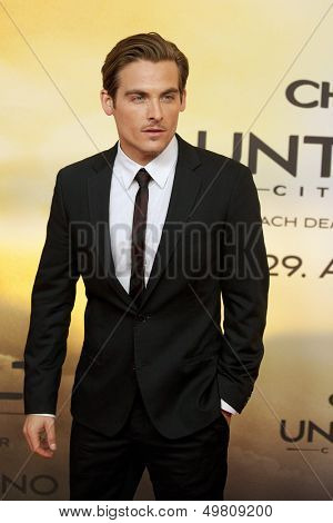 BERLIN - AUG 20: Kevin Zegers at the 'The Mortal Instruments: City of Bones' premiere at Sony Center on August 20, 2013 in Berlin, Germany