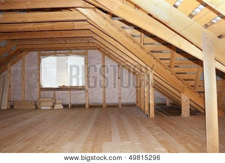 Attic In Wooden House Under Construction Overall View