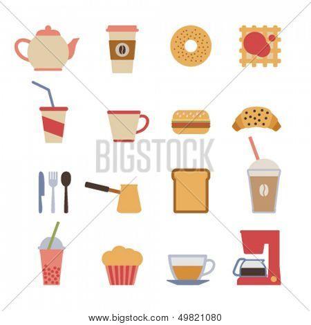 set of flat cafe design elements