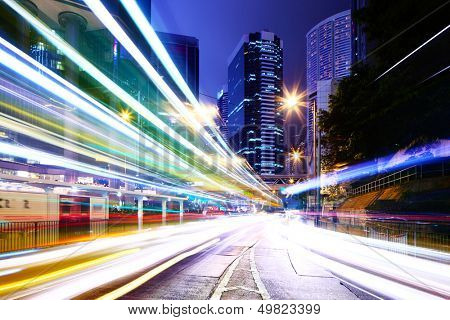 Traffic trail in a city