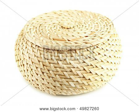 Wicker basket with cover, isolated on white
