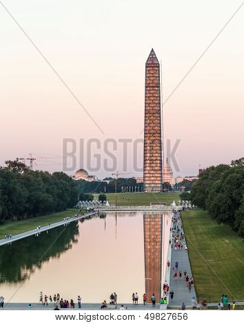 Washington Monument Reflecting At Night