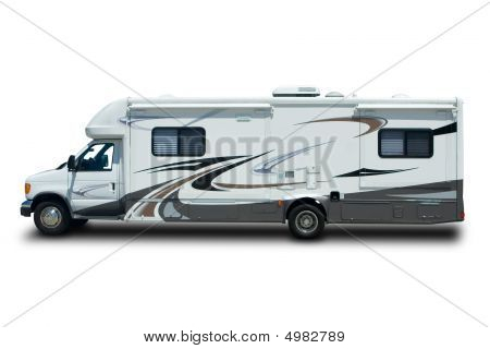 Big Recreational Vehicle Isolated on White Background poster