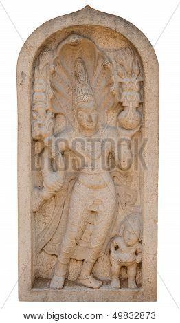 Ancient Guardstone Near A Buddhist Temple, Sri Lanka