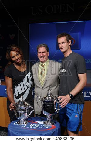 US Open 2012 champions Serena Williams and Andy Murray with USTA Chairman, CEO and President Dave Ha