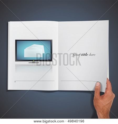 Realistic Tv Printed On Book. Vector Design.