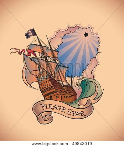Old-school styled tattoo of a pirate ship on the background of a shining black star and a banner. Raster image. Check my portfolio for an editable version.