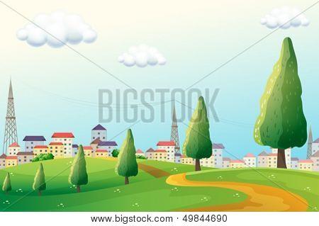 Illustration of the hills across the neighborhood