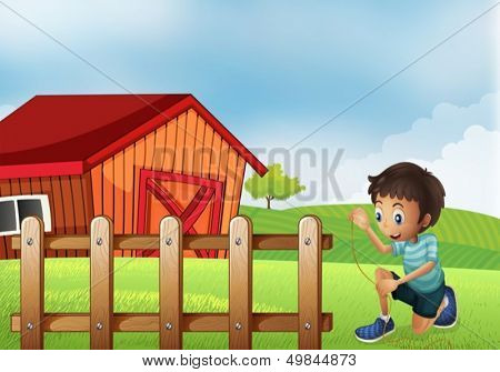 Illustration of a boy holding a rope at the farm