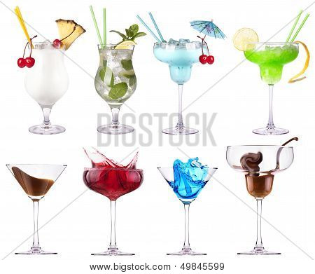 alcoholic  cocktails set - cosmopolitan, Blue Curacao, Chocolate cocktail,martini,margarita, poster