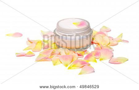 Cream Cosmetic Skin Care Beauty Organic with rose-leaf bio natural isolated on white background poster