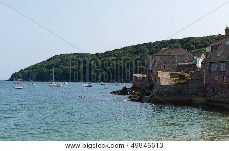 View of Cawsand and Kingsand coast Cornwall England United Kingdom on the Rame Peninsula overlooking