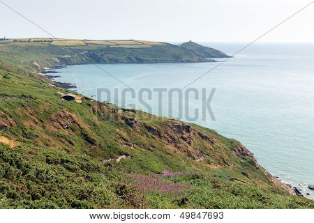 Rame Head and Polhawn Whitsand Bay beach Cornwall coast England UK near to Plymouth