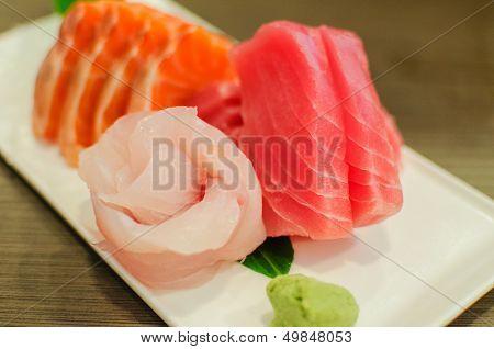 Sashimi Set Of Fresh Salmon And Tuna Raw Fish