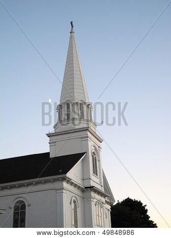 The Moon Over the  Church Steeple