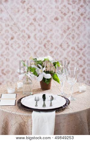 Cream Wedding Reception Table Setting