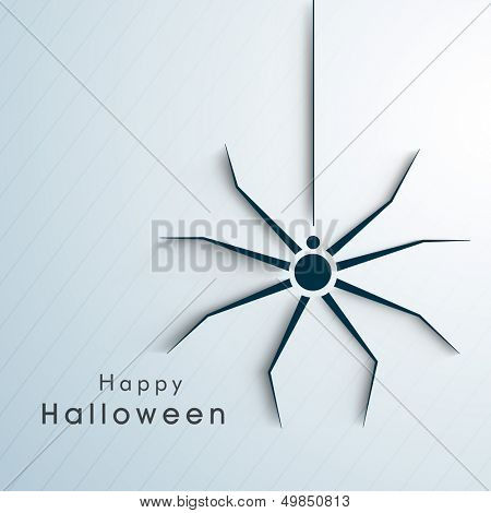 Happy Halloween poster, banner or background with spider on blue background.