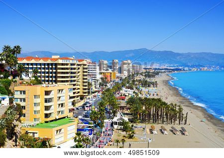 TORREMOLINOS, SPAIN - MARCH 13: Bajondillo Beach and ocean front walk on March 13, 2012 in Torremolinos, Spain. This popular beach is about 1,100 meters long and 40 meters average width