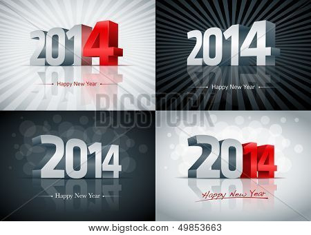 2014 Happy New Year card set. All elements are layered separately. Easy editable.