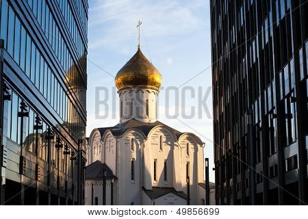 Temple of St. Nicholas at Tverskaya Zastava in Moscow poster