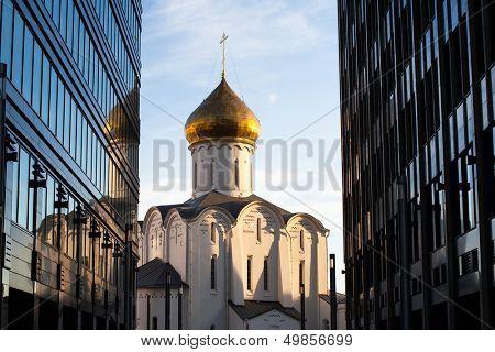 Temple of St. Nicholas at Tverskaya Zastava in Moscow poster