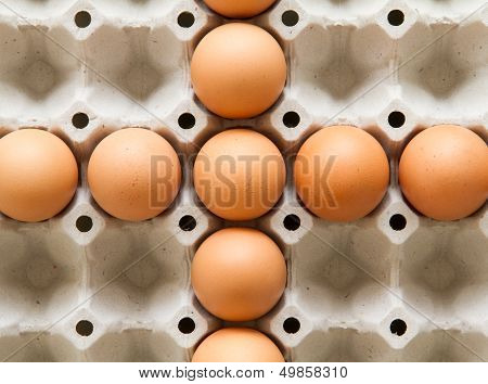 Plus Eggs In Brown Cage for Food Ingredients.. poster