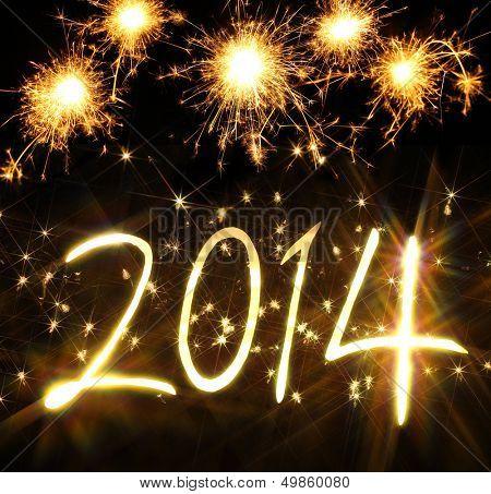 Ano novo 2014 feito de luz real e brilhos